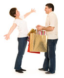 Couple man and woman with shopping bag Royalty Free Stock Images