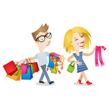 Couple man woman shopping bored. Vector illustration of cartoon characters: Couple shopping clothes; happy girl picking out clothes, boyfriend/husband carrying stock illustration