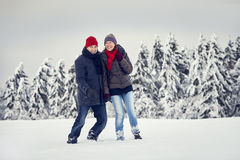 Couple Man Woman Snow joy togetherness Royalty Free Stock Photography