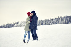 Couple Man Woman Snow Kiss Royalty Free Stock Photography