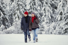 Couple Man Woman snow laughing walk Stock Photography