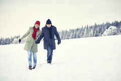 Couple Man Woman snow winter forest Royalty Free Stock Photos