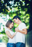 Couple man woman sunny summer day together love Stock Images
