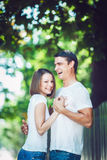 Couple man woman sunny summer day together love Royalty Free Stock Images