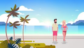 Couple man woman sunrise tropical palm beach summer vacation smiling walking seaside sea ocean flat horizontal. Vector illustration royalty free illustration