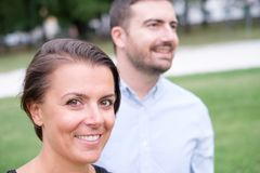Couple of man and woman together portrait outdoor looking at the Stock Image
