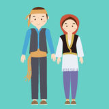 Couple man woman turkish wearing turk turkey traditional costume clothes dress male female vector illustration Stock Photography