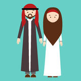 Couple man woman wearing arab arabic traditional costume clothes dress male female vector illustration Royalty Free Stock Images