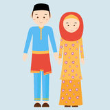 Couple man woman wearing brunei islamic traditional costume clothe dress male female vector illustration veil and malaysia malay Royalty Free Stock Photo