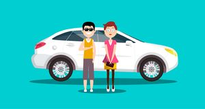 Couple - Man and Woman with White Car. Vector Flat Design Illustration stock illustration