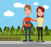Couple man and woman yard fence trees. Illustration eps 10 Royalty Free Stock Images