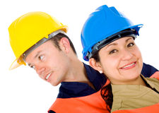 Couple of manual workers Stock Image