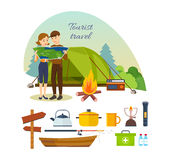 Couple with map in hands, engaged in hiking, camping, vacation. Summer travel and vacation outdoor. Couple with map in hands, engaged in hiking, camping, as Royalty Free Stock Images