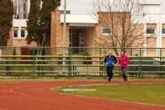 Couple marathon running Stock Images