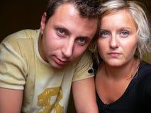 Couple- marital difficulties. The portrait of the sad couple Stock Photos