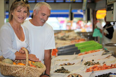 Couple at the market Royalty Free Stock Photo