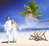 Couple Marriage Beach Wedding Party Happiness Concept Stock Photography