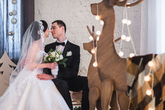 Couple married on Christmas Eve. Royalty Free Stock Photography