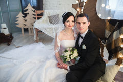 Couple married on Christmas Eve. Royalty Free Stock Image