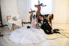 Couple married on Christmas Eve. Stock Photo
