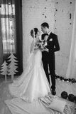 Couple married on Christmas Eve. Royalty Free Stock Photo