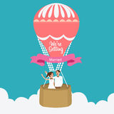Couple we are married flying hot air balloon vector flat illustration romantic Royalty Free Stock Image