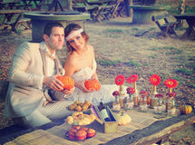Couple married in nature Royalty Free Stock Image
