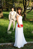 Couple married in nature Stock Photos