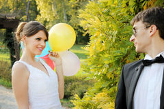 Couple married in nature Royalty Free Stock Photos