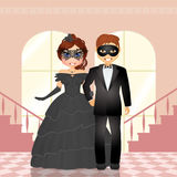 Couple at the masked ball Royalty Free Stock Photo