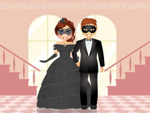 Couple at the masked ball Stock Photos