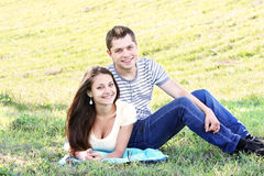 Couple in meadow Royalty Free Stock Photography