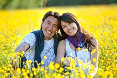 Couple at a meadow Stock Image