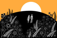 Couple on meadow. Vector illustration Stock Photography