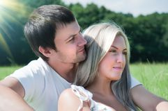 Couple on the meadow Royalty Free Stock Images