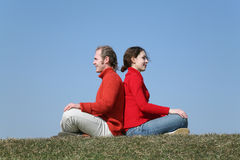 Couple on meadow Royalty Free Stock Photos