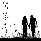 Couple on meadow, black silhouette stock illustration
