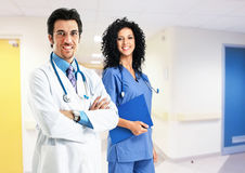 Couple of medical workers in the hospital Royalty Free Stock Photos
