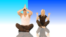 Couple meditating Stock Image