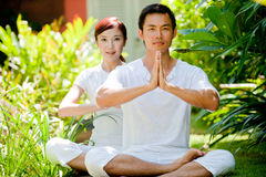 Couple Meditating Royalty Free Stock Photography
