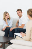 Couple in meeting with a financial adviser Stock Photo
