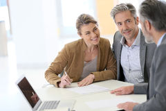 Couple meeting financial advisor stock photos