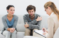 Couple in meeting with a relationship counselor Stock Image
