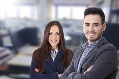 Couple of men and women of business. Executives and professions Royalty Free Stock Image