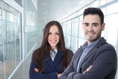 Couple of men and women of business. Executives and professions Stock Photography