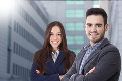 Couple of men and women of business. Executives and professions Stock Image