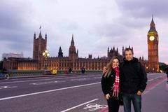 Couple of middle-aged tourists in London during the sunset with stock photo