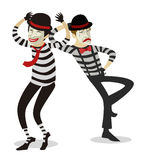 Couple of mime clowns artists. Five mime clowns playing actors in theater stage happy cute Royalty Free Stock Photography