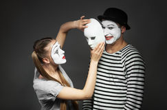 Couple of mimes stock photography