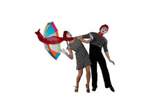Couple of mimes isolated on white royalty free stock images